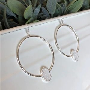 White Ice Drusy Hoops